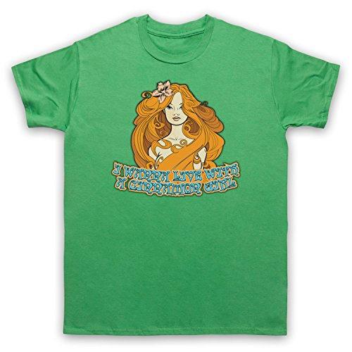 Inspire par Neil Young Cinnamon Girl Officieux T-Shirt des Hommes, Vert, Medium
