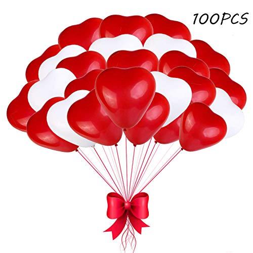 z Luftballons Hochzeit, Herz Luftballons Rot Weiß Helium,Latex Herz Ballon, Herzluftballons 12 Zoll für Hochzeit Verlobung Valentinstag (Rot Weiß-100) ()