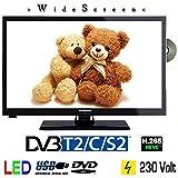 Telefunken L247H274K4DVI LED Fernseher 24 Zoll 61 cm, TV mit DVB-S /S2, DVB-T2, DVB-C, DVD, USB, Energieeffizienzklasse A +, 230V