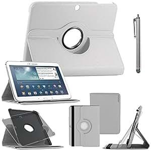 ebestStar - pour Samsung Galaxy Tab 3 10.1 GT-P5210, 10 pouces P5200 P5220 - Housse Coque Etui PU cuir Support rotatif 360° + Stylet tactile, Couleur Blanc [Dimensions PRECISES de votre appareil : 243.1 x 176.1 x 8 mm, écran 10.1'']
