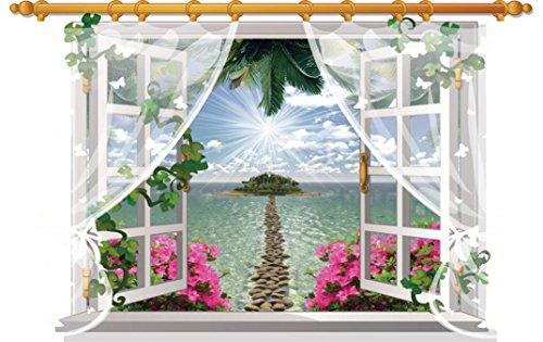Etiqueta de la pared 3D - Saihui Creativo Ventana Vista Paisaje Removible Arte Vinilos Murales Calcomanía para el Hogar Sala de Pared de TV Decoración de Fondo (E)