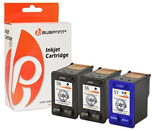 Bubprint 3 Druckerpatronen kompatibel für HP 56 57 für Deskjet 5150 5550 5650 Officejet 4215 5510 Photosmart 7260 7660 7760 7960 PSC 1210 1215 1315 -