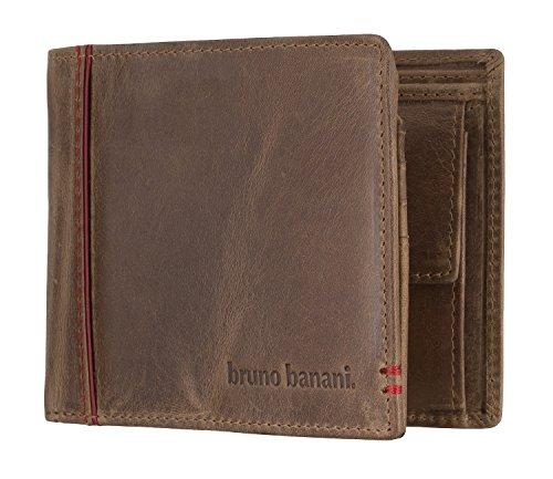 bruno banani Männer Geldbörse aus Echt Leder im Querformat, Designer Geldbeutel für Herren - Cognac & Rot 4894