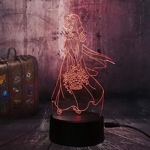 3D Lampe Leuchte LED Stimmungslicht Prinzessin 7 Farben Touch-Schalter Ändern Nachtlicht Für Schlafzimmer Hochzeit Weihnachten Valentine Geburtstag Geschenk