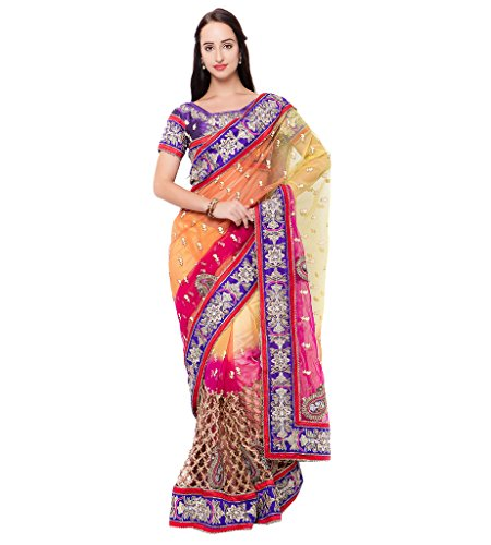 Viva N Diva Yellow, Orange And Pink Colored Net Saree.  available at amazon for Rs.3449