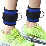 Siming 2confezione caviglia cinghie regolabili, doppio D-Ring caviglia polsino cinghie per cavo palestra Machine Glute e gamba allenamento (blu)