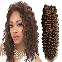 RemeeHi Kinky Curly Tape in Hair Extensions Long Glue Hair Extensions Human Hair Full Head Seamless 22 Inch 20pcs 60g 22# Medium Blonde