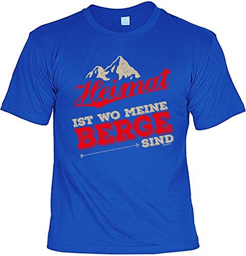 Bergsteiger/Wander/Kletter-Shirt/Sprüche-Shirt Thema Wandern: Heimat ist wo meine Berge sind für Gipfelstürmer Royalblau