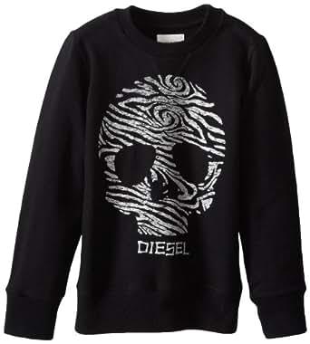"""Diesel pull pour enfant noir taille pur coton à col rond, taille xXS (3/4 """")"""