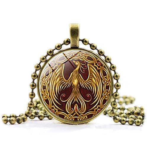 Korn Bronze (Ndier Phoenix Anhänger Halskette Glas Halskette Pullover Korn Kette Opulente Halskette Bronze beutymisc)