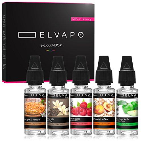 5 x 10ml Elvapo Premium E-LIQUID-BOX | E-Zigaretten und E-Shisha Liquids Set ohne Nikotin | Grüner Apfel, Peach Ice Tea, Himbeere, Apple Crumble, Vanille | 0,0 mg (nikotinfrei) | Made in Germany!