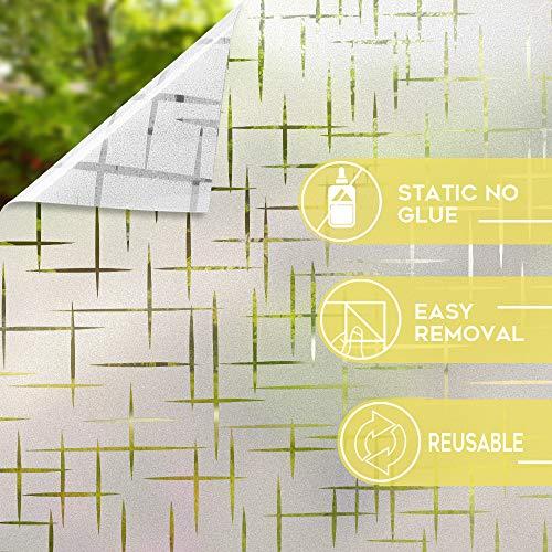 517yKVY3pQL - Rabbitgoo Vinilo para Ventana Pegatina Blanca Privacidad Raya Película Vinilos Adhesivos para Cristales Vidrios 44.5cmx200cm