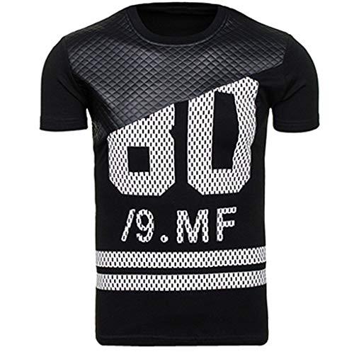 Celucke Patchwork Print Basic Herren T-Shirt, Männer Kurzarm Casual Top Tee Rundhals Logo Oversize Kurzarmshirt Slim Fit