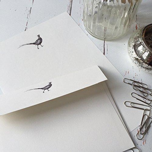 Stelzen (Gattung) Designs Schreibpapier Geschenk Set mit einem Fasan Design in einem schönen Black Box mit Schleife (36)