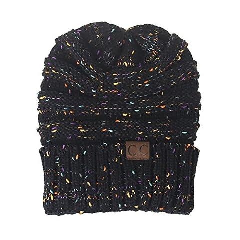 FEMME Automne Et Hiver En Tricot En Plein Air Chaussure Chaude Chaude Slouch Stretch Cap,Black-OneSize