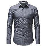 Kuson Herren Herren Businesshemd Langarm Hemden Slim Fit Langarmhemd mit Kent-Kragen bügelfrei Business Hochzeit (L, Grau-1)