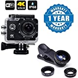 Drumstone Wifi 4K Ultra HD Waterproof Sports Camera With 2 Inch LCD Display With Universal 3 In 1 Cell Phone Camera Lens Kit -Fish Eye Lens/ 2 In 1 Macro Lens & Wide Angle Lens Compatible With Xiaomi, Lenovo, Apple, Samsung, Sony, Oppo, Gionee, Vivo S