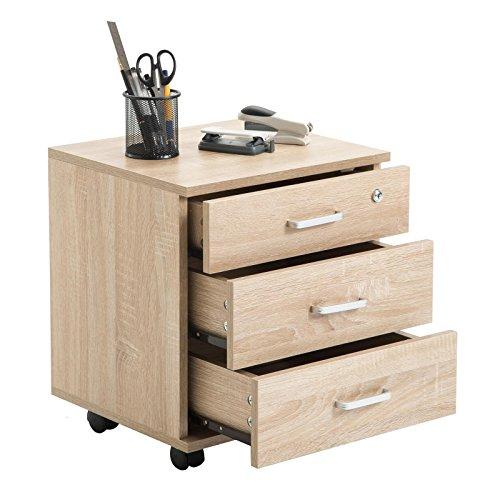 CARO-Möbel Rollcontainer SATURN Aktenschrank Bürocontainer mit 3 Schubladen in Sonoma Eiche, abschließbar - 2