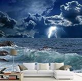 Kuamai Benutzerdefinierte Fototapete 3D Ozean Wellen Lightning Dark Cloud Landschaft Wandbild Tapete Wohnzimmer Schlafzimmer 3D-120X100cm