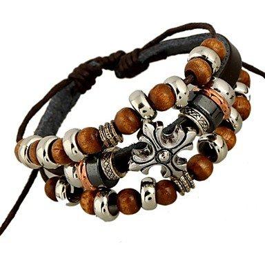 Di cuoio in rilievo punk del braccialetto , brown-one size , brown-one size - Sterling D'oro In Rilievo Bracciali