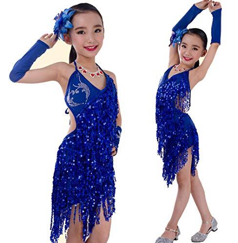 Latin Kostüm Hot Dance - Kinder Tanz Kostüm Mädchen Kleider Röcke Hot Bohren Latin Pailletten Fransen Rock Rot Schwarz Blau Gelb,Blue,S