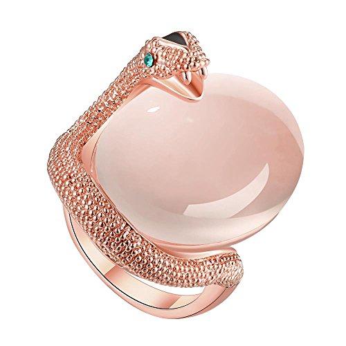 Pandahall 1 pieza elegante aleacion de estaño Cat Eye animal anillo para mujer,color de oro rosa talla 7, 17mm
