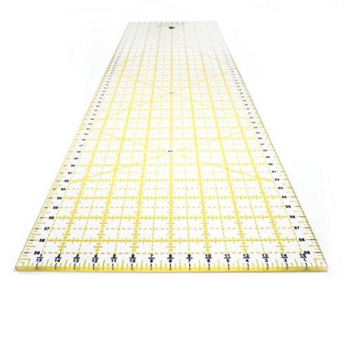 OfficeTree® Nählineal Universallineal Patchwork Quilt Rollschneiderlineal - Nähen Basteln mit exakten Abmessungen und Zuschnitten - transparent - 60 cm x 16 cm