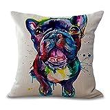 Kissenüberzug mit einer gemalten Französischen Bulldogge in hellen Farben, 45 x 45 cm, Kissenbezug aus Baumwolle/Leinen für zu Hause, Sofas, Geschäfte, Bars, Clubs, Autos, Betten, als Dekoration, MY-A1072-01 #05