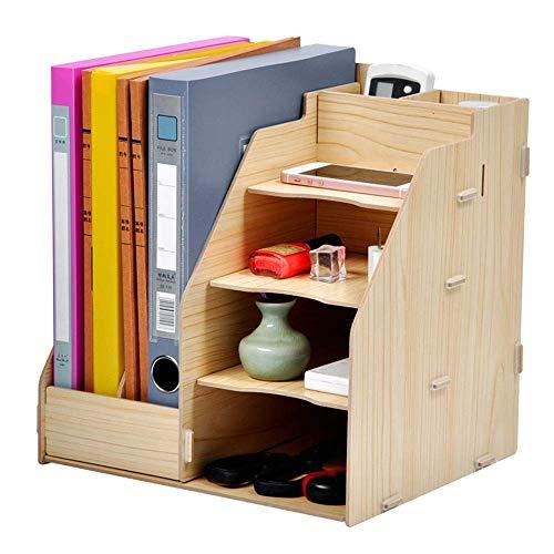 DX Gaoxu Schreibtischzubehör Veranstalter Desktop Aufbewahrungsbox Multifunktionsbüro Regal Holz Aktenregal (4 Farben, 3 Stile) (Farbe: Weiß Ahorn, Größe: 280 * 260 * 290mm) -