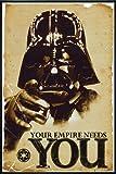 Star Wars Poster Darth Vader Your Empire Needs You (93x62 cm) gerahmt in: Rahmen schwarz
