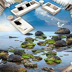 Malerei Jeder Größe Dreidimensionale Tapete Meer Stein Am Meer Himmel Bodenfliesen 3D-Bodenbelag Zu Zeichnen-350 * 245Cm