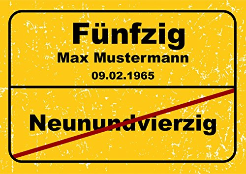 Ortsschild aus Aluminium in DIN A5, A4 und DIN A3 Geburtstag Deko Geschenk Verkehrsschild, Schildausführung:50 Jahre, Größe:A3-420 x 297