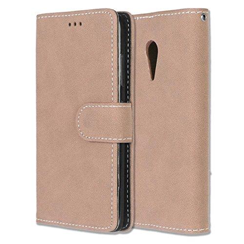 Lenovo ZUK Z2 Pro Hülle, Chreey Matt Leder Tasche Retro Handyhülle Magnet Flip Case mit Kartenfach Geldbörse Schutzhülle Etui [Khaki]