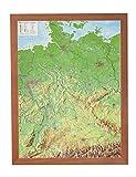 Deutschland klein mit Rahmen 1:2.4MIO: Reliefkarte Deutschland klein mit Holzrahmen