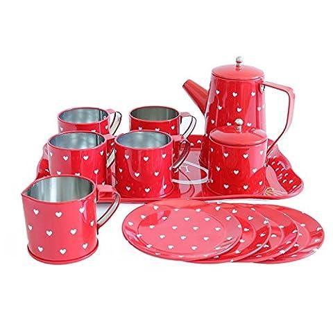 GTNK Tin Tea Set Toy–Tea Kitchen Playset for Kids Girls Boys Pretend Play(Red heart)