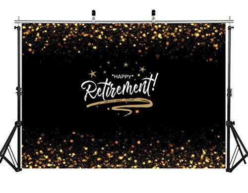 EdCott 7x5ft Happy Retirement offiziell Congrats Schwarz Golden Flash Fotografie Hintergrund Vinyl Happy Retirement Motto Party Dekoration Banner Kulissen Banner Photo Booth Requisiten (Retirement Für Party Dekorationen)