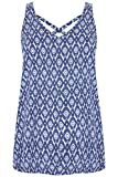 Yours Clothing Women's Plus Size Printed V-Neck Vest Top with Cross Back Detail Size 22-24 Navy
