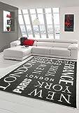 Traum Teppich Modern Flachgewebe Städte Sisal Optik Küchenteppich Küchenläufer City Schwarz Weiss Größe 80x200 cm