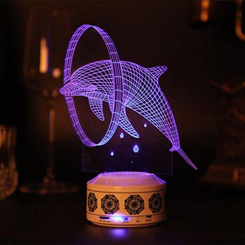 LT&NT 3D Lampes Illusions optiques, Dauphin Nuit lumière Bureau Table Lampes Bluetooth Speaker Base LED 7 Couleurs changent USB câble Kids Enfants bébé Incroyables Cadeaux décoration de noël -A