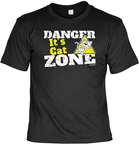 Cooles Tier T-Shirt für Tierliebhaber - Danger it's Cat Zone - Geschenk tierlieb Katz Katze Katzenfreunde Katzenliebhaber Schwarz