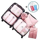 Koffer-Organizer Wasserdichte Kleidertasche Packwürfel Set mit Kofferanhänger Packtasche für Wäsche Schuhe und Accessories, Packing Cubes(7-teilig,Rosa)