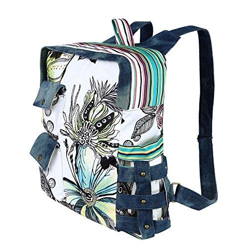 Imagen de dopobo retro diseño de flores con impresión de colibríes y vintage canvas bolsas de diseño de tela vaquera  de senderismo  bolsa de viaje marrón