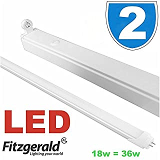 2x LED 4foot 4' 4ft Low Energy Single Tube Strip Light batten 1200mm Fitting T8 Fitting 18w = 36w Daylight Cool White