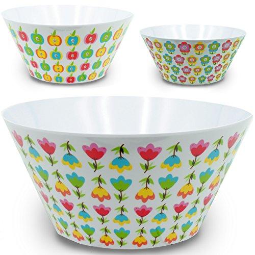 alles-meine.de GmbH 3 TLG. Set _ große Schalen / Kunststoffschalen / Schüsseln - Popcornschalen -  Bunte Blumen / Blüten - Äpfel  - HOCH - rund - 3,8 Liter - aus Melamin / Kuns.. -
