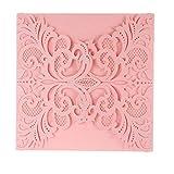 ponatia 25Pack Set Laser-Cut Einladung Karten, Spitze Einladung Kit für Hochzeit Jahrestag Brautschmuck Dusche Geburtstag mit bedruckbar Papier und Umschläge rose