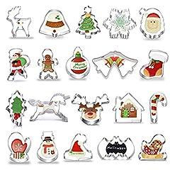 Idea Regalo - Okaytec Tagliabiscotti Natalizi Set - 20 pz Formine Biscotti a Tema Natalizio con Forma di Babbo Natale & Slitta & Alce & Fiocco di Neve ECC - Stampini per Biscotti in Acciaio Inox per Natale