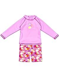 Landora®: Baby- / Kleinkinder-Badebekleidung langärmliges 2er Set mit UV-Schutz 50+ und Oeko-Tex 100 Zertifizierung in rot oder violett