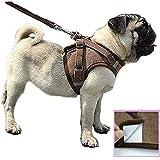 Z ZHIZU Hundegeschirr Reflektierend atmungsaktiv für große, mittelgroße, Mittlere & Kleine Hunde Geschirr Hund Katze Brustgeschirr Dog Harness (L, Braun)
