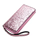 Portafoglio per donna LUOEM Paillettes Glitter Luxury Zipper Clutch Purse Lady Borsa sera Cocktail Party Bag Regalo di San Valentino per le donne (Rosa)