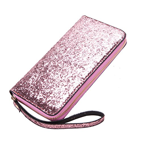 LUOEM Damen lange Geldbörse Pailletten Clutch Reißverschluss Portemonnaie Glitzer Handtasche für Abend Cocktail Tanzabend Party ()